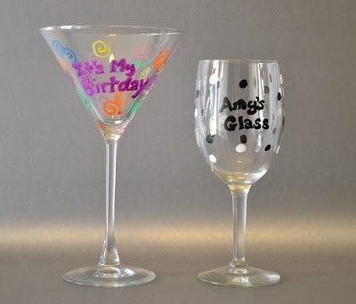 Martini Glass, Wine Glass, Custom, Elmer's Painters, Tutorial