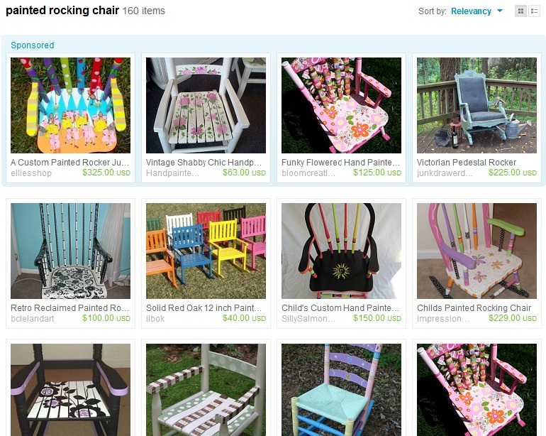 peek on Etsy showed me that hand painted rocking chairs were ...