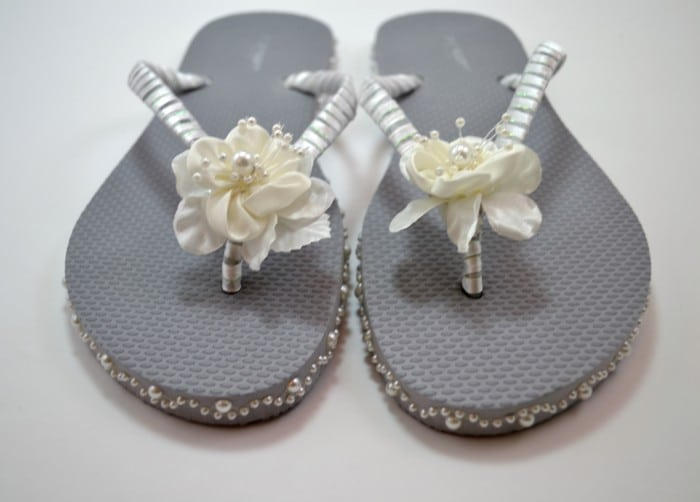 Completed Wedding Flip Flops