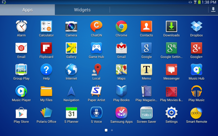 Screenshot Galaxy Tab Apps #shop