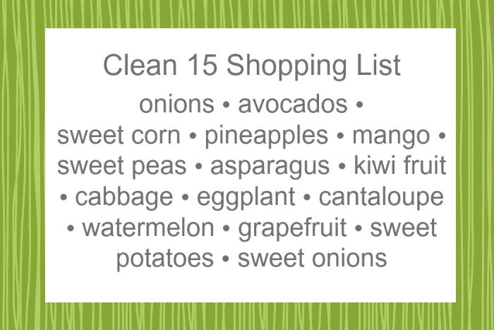 Printable Clean 15 Shopping List