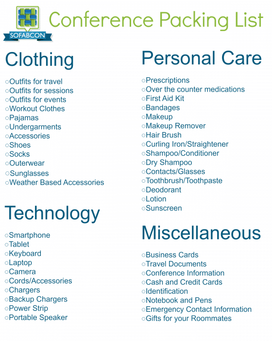 SoFabCon Packing List