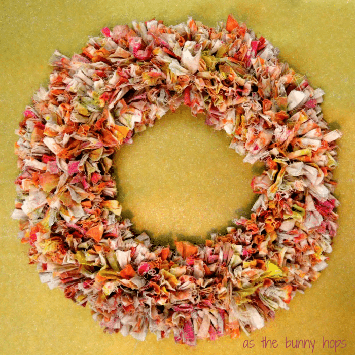 Tie Dye Rag Wreath tutorial from As The Bunny Hops