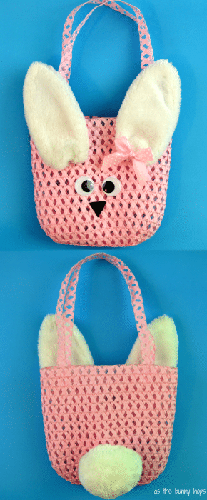 Front and Back of super easy Easter Bunny purse. All from the Dollar Spot at Target!