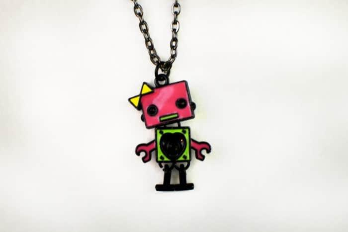 Robot Necklace with Dark Chain