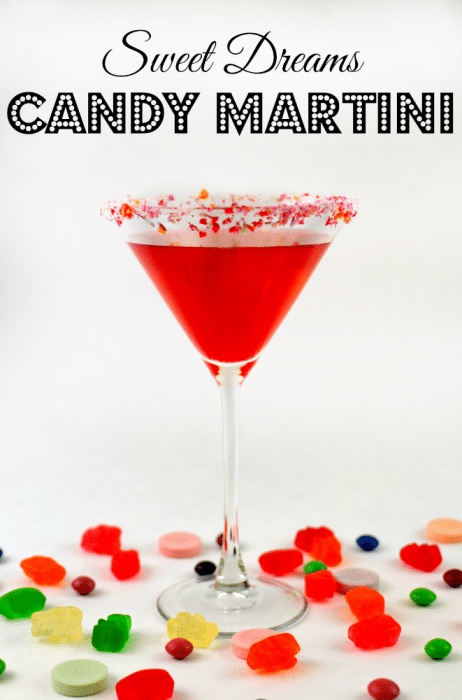 Sweet Dreams Candy Martini with candy rim and candy flavored awesomeness!