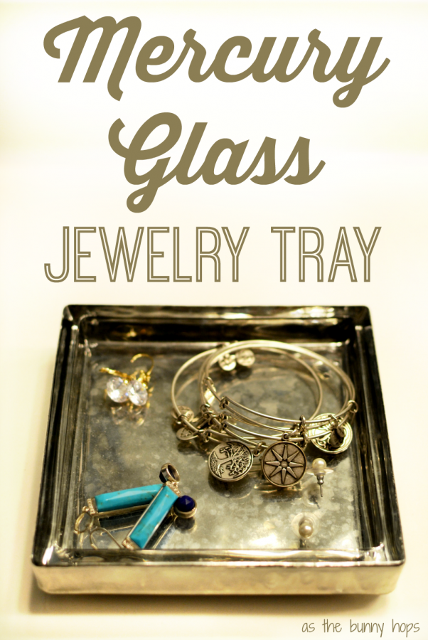 Make your own mercury glass jewelry tray in a few easy steps with looking glass paint and a candle plate.