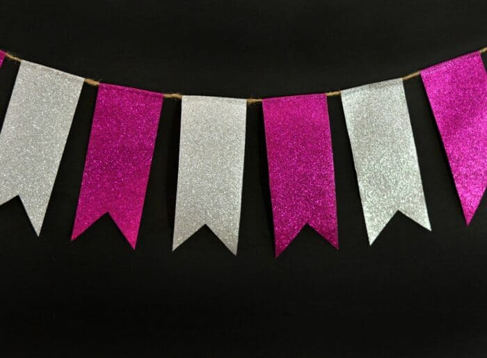 Make and easy and fun bunting from glitter duct tape! It only takes a few minutes to complete.  #HerHealth #CollectiveBias #shop