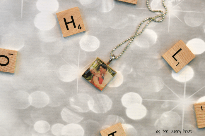 It's so easy to make these photo pendants with Scrabble letter tiles. They make a perfect wedding gift!