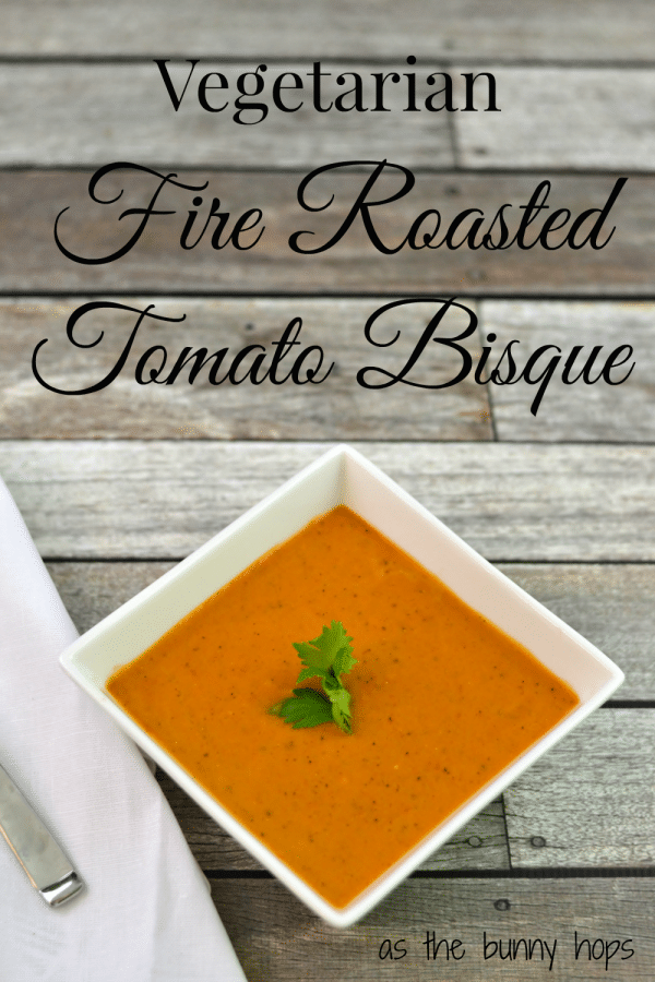 Make this delicious and easy fire roasted vegetarian tomato bisque soup with help from Hunt's tomatoes! #DinnerDone #shop