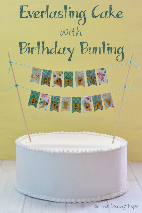 "Make and everlasting ""fake cake"" with Collage Clay. You can even change out the bunting on the same cake!"