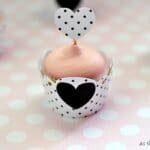 {Tutorial} Polka Dot Heart Mini Cupcake Wrappers and Flags