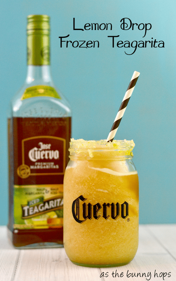 Easy and fun lemon drop Teagarita recipe! #CuervoTeagarita