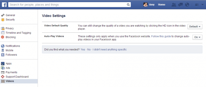 It's easy to change Facebook's video settings.