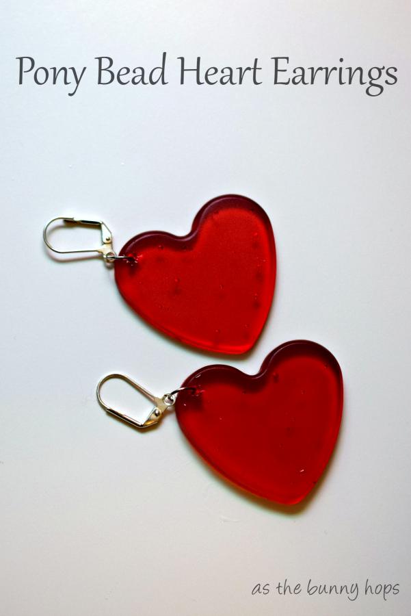 Pony Bead Heart Earrings