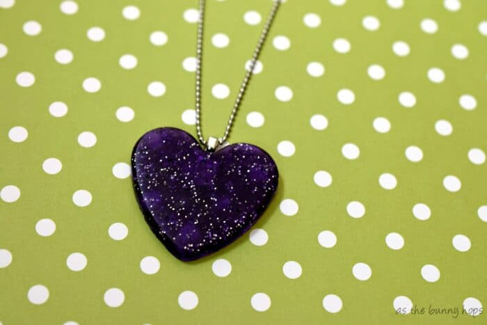 Easy to make heart necklace with glue on bail. Heart is made from pony beads!