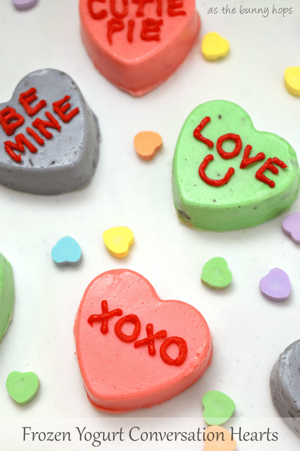 Celebrate Valentine's Day with these easy and cute Frozen Yogurt Conversation Hearts!
