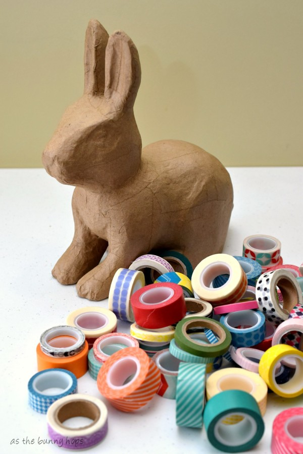 Make a cute patchwork bunny with washi tape and a paper mache bunny form!