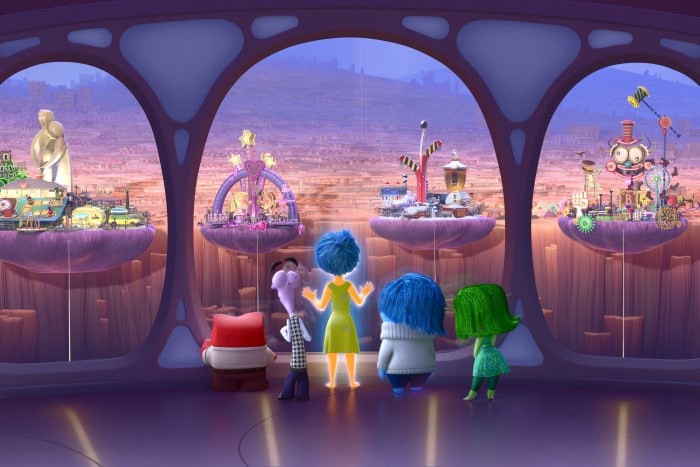 INSIDE OUT – Anger, Fear, Joy, Sadness and Disgust look out upon Riley's Islands of Personality. ©2015 Disney•Pixar. All Rights Reserved.