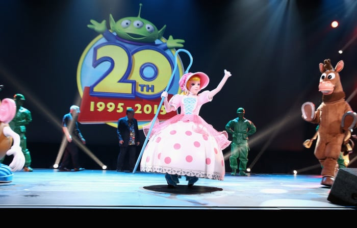 """ANAHEIM, CA - AUGUST 14: Characters from TOY STORY took part today in """"Pixar and Walt Disney Animation Studios: The Upcoming Films"""" presentation at Disney's D23 EXPO 2015 in Anaheim, Calif. (Photo by Jesse Grant/Getty Images for Disney)"""