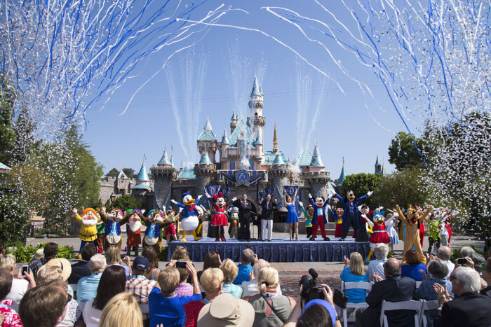 "(July 17, 2015) Ð Mickey Mouse and his friends celebrate the 60th anniversary of Disneyland park during a ceremony at Sleeping Beauty Castle featuring Academy Award-winning composer, Richard Sherman and Broadway actress and singer Ashley Brown, in Anaheim, Calif. on Friday, July 17. Celebrating six decades of magic, the Disneyland Resort Diamond Celebration features three new nighttime spectaculars that immerse guests in the worlds of Disney stories like never before with ""Paint the Night,"" the first all-LED parade at the resort; ""Disneyland Forever,"" a reinvention of classic fireworks that adds projections to pyrotechnics to transform the park experience; and a moving new version of ""World of Color"" that celebrates Walt DisneyÕs dream for Disneyland. (Paul Hiffmeyer/Disneyland Resort)"