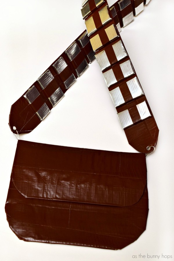 It's easy to make your own Chewbacca style bandolier with duct tape! Perfect for your Halloween costume, too!