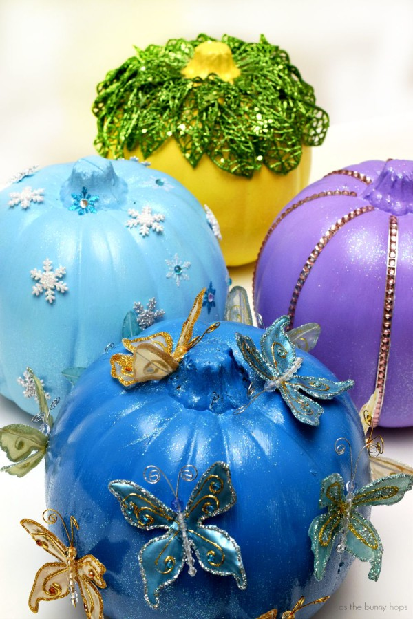 Easy to make no-carve Disney Princess Pumpkins featuring Rapunzel, Tiana, Elsa and Cinderella!