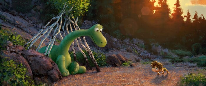 """""""The Good Dinosaur"""" tells the story of Arlo, a lively Apatosaurus with a big heart who sets out on a remarkable journey, gaining an unlikely companion along the way—a human boy. Directed by Peter Sohn (""""Partly Cloudy"""") and produced by Denise Ream (""""Cars 2"""", """"The Good Dinosaur"""" opens in theaters Nov. 25, 2015. ©2014 Disney•Pixar. All Rights Reserved."""