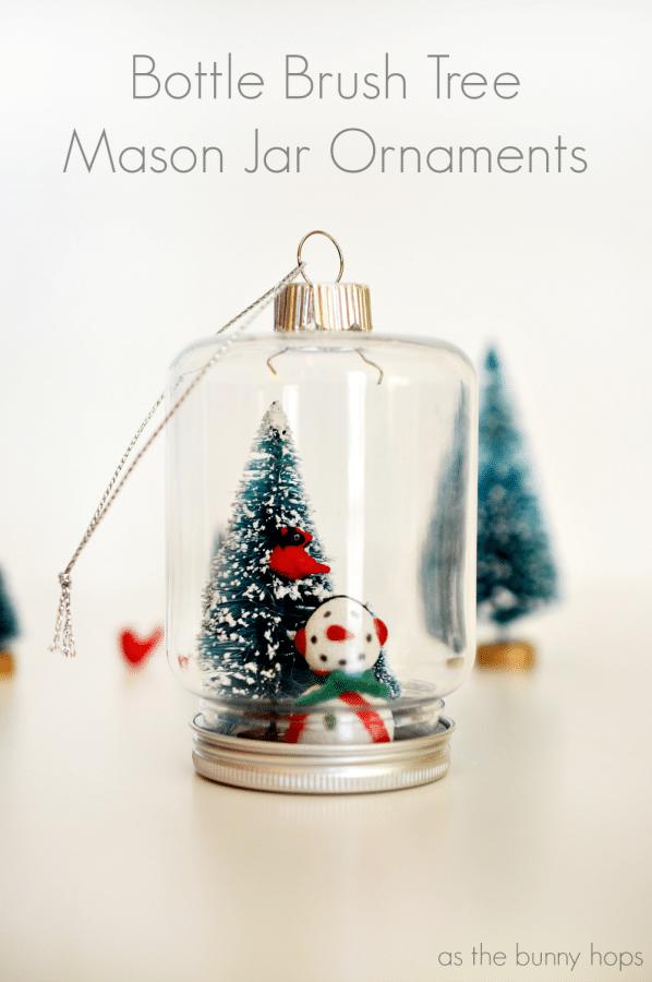 Bottle Brush Tree Mason Jar Ornaments