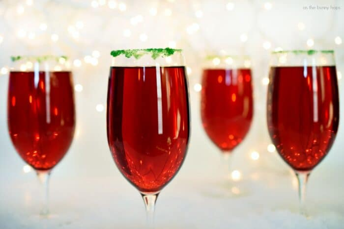 Two ingredient Cranberry Pomegranate Sparklers make at the perfect all-ages signature holiday drink!