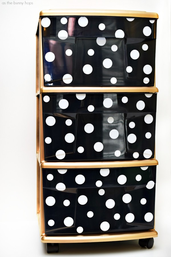 Give your storage an update with this Kate Spade-Inspired Storage Cart. It's easy to DIY with a little contact paper and spray paint!