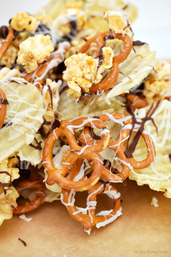 Potato chips, pretzels and caramel popcorn make up the best sweet and salty snack mix you've ever had!