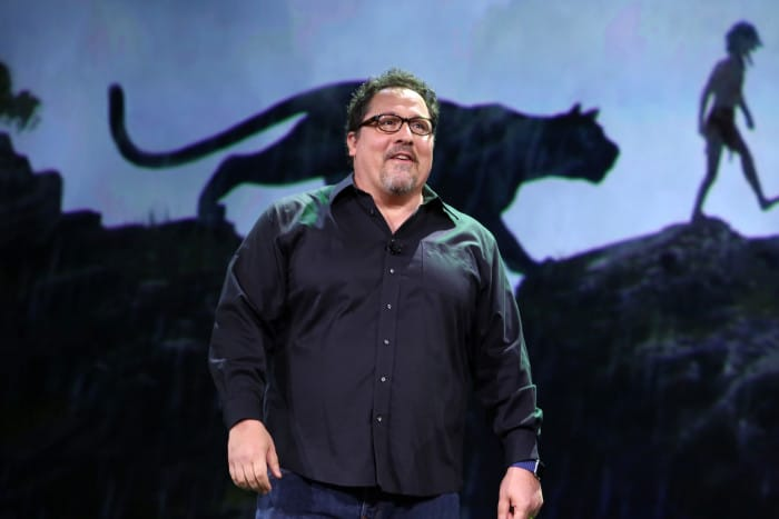 "ANAHEIM, CA - AUGUST 15: Director Jon Favreau of THE JUNGLE BOOK took part today in ""Worlds, Galaxies, and Universes: Live Action at The Walt Disney Studios"" presentation at Disney's D23 EXPO 2015 in Anaheim, Calif. (Photo by Jesse Grant/Getty Images for Disney) *** Local Caption *** Jon Favreau"