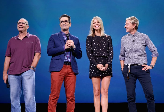 "ANAHEIM, CA - AUGUST 14: (L-R) Actors Ed O'Neill, Ty Burrell, Kaitlin Olson and Ellen DeGeneres of FINDING DORY took part today in ""Pixar and Walt Disney Animation Studios: The Upcoming Films"" presentation at Disney's D23 EXPO 2015 in Anaheim, Calif. (Photo by Jesse Grant/Getty Images for Disney) *** Local Caption *** Ellen DeGeneres; Ed O'Neill; Ty Burrell; Kaitlin Olson"