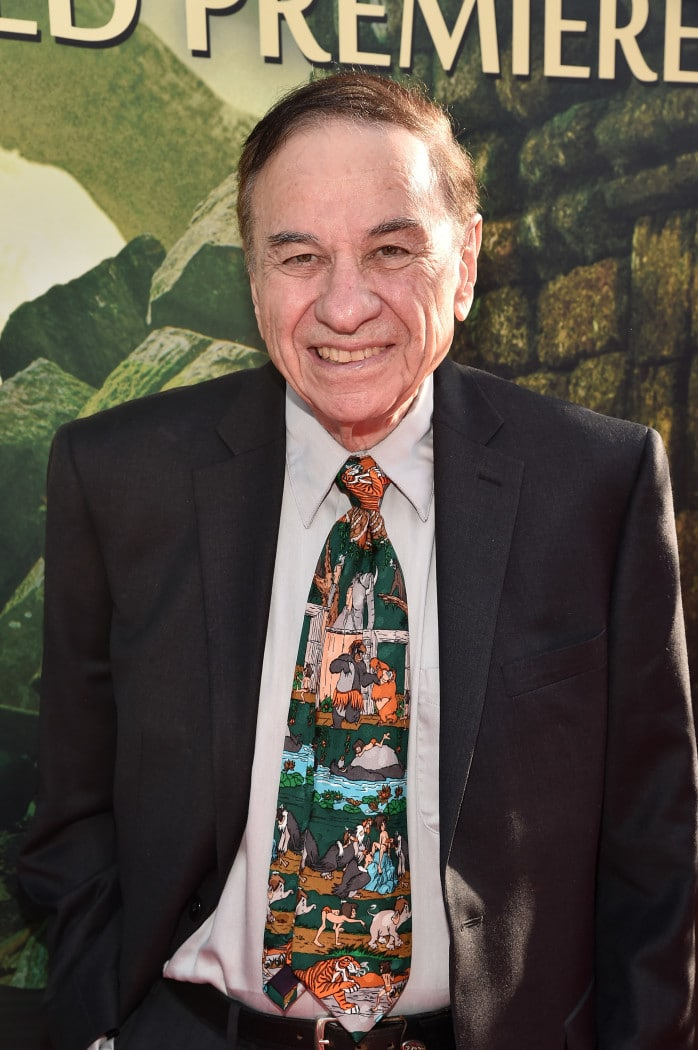 """HOLLYWOOD, CALIFORNIA - APRIL 04: Composer Richard Sherman attends The World Premiere of Disney's """"THE JUNGLE BOOK"""" at the El Capitan Theatre on April 4, 2016 in Hollywood, California. (Photo by Alberto E. Rodriguez/Getty Images for Disney) *** Local Caption *** Richard Sherman"""