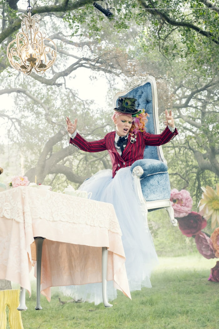 International pop icon Pink from the music video for her new hit, JUST LIKE FIRE, which is featured in Disney's ALICE THROUGH THE LOOKING GLASS, the all-new adventure featuring the unforgettable characters from Lewis Carroll's beloved stories.