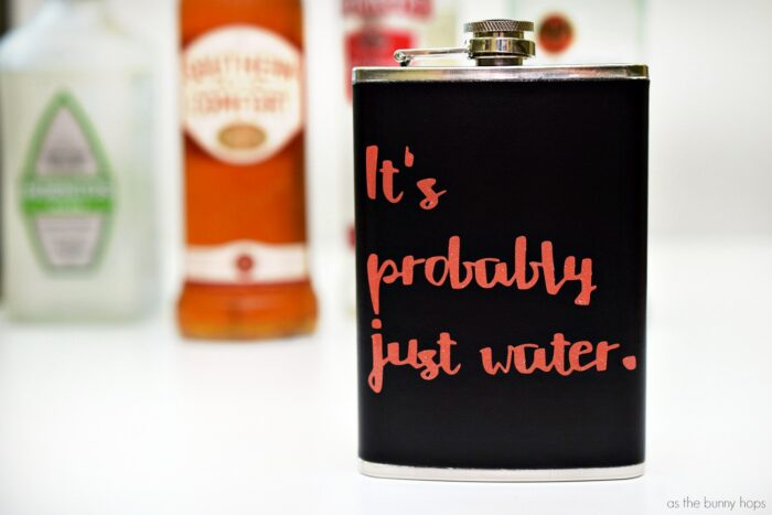 """It's Probably Just Water"" Personalized Flask"