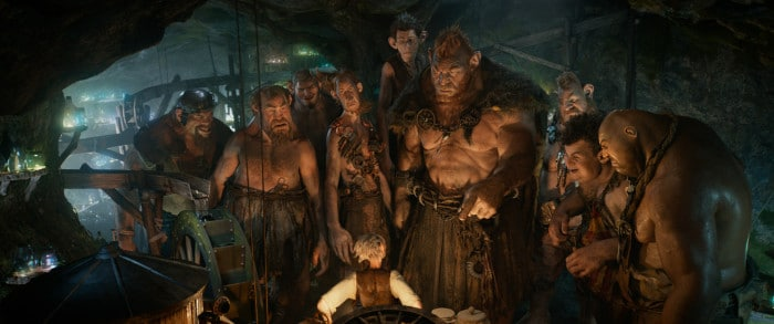 (Left to right) Gizzardgulper, Childchewer, Maidmasher, Bloodbottler, Manhugger, Fleshlumpeater, Meatdripper, Butcher Boy, and Bonecruncher surround the BFG in Disney's THE BFG, the imaginative story of a young girl named Sophie (Ruby Barnhill) and the Big Friendly Giant (Oscar (R) winner Mark Rylance) who introduces her to the wonders and perils of Giant Country. Directed by Steven Spielberg based on Roald Dahl's beloved classic, the film opens in theaters nationwide on July 1.