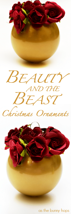 Beauty and the beast christmas ornaments as bunny hops