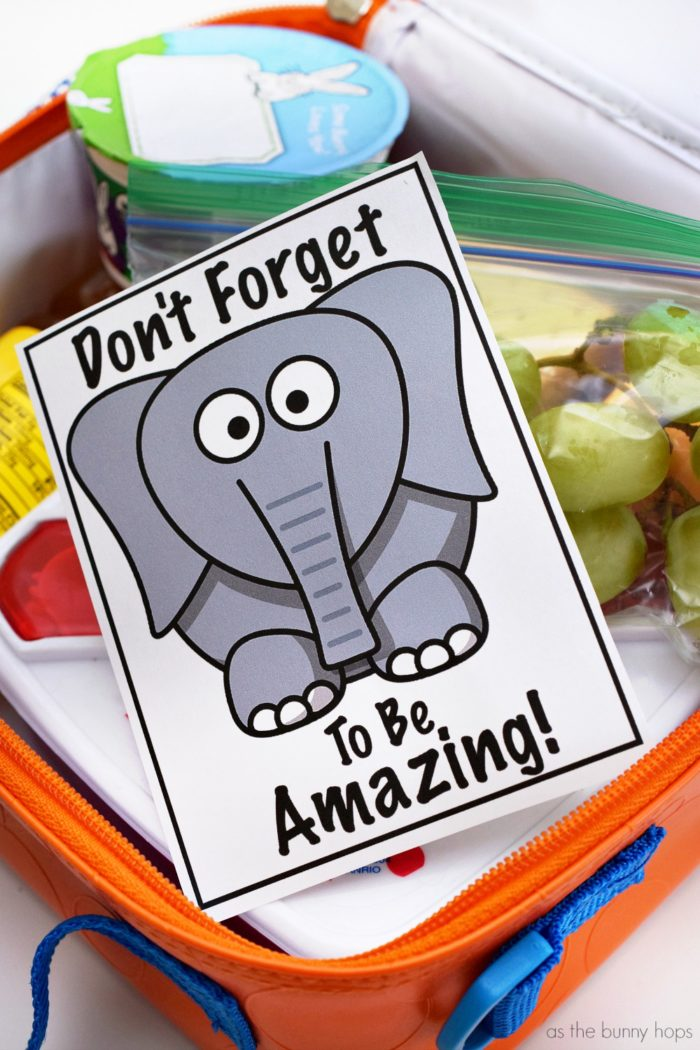 Don't Forget Elephant Lunchbox Notes Printable