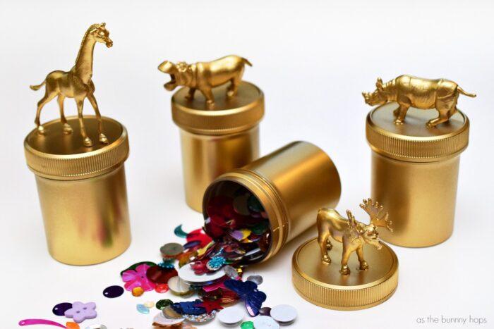 Gold Animal Trinket Boxes
