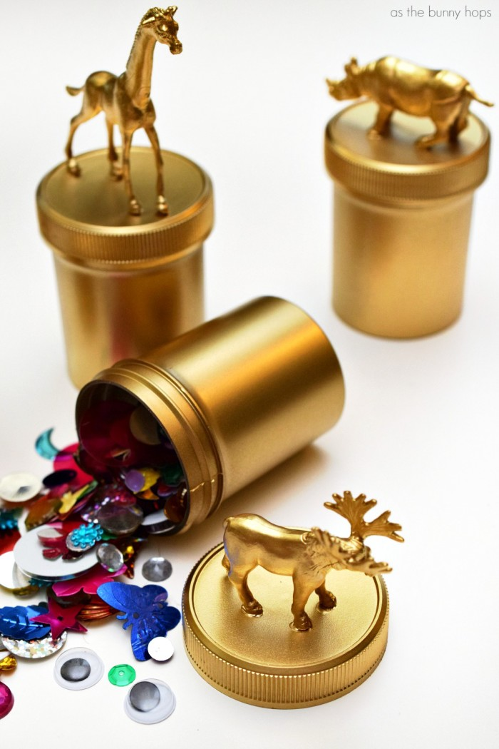 Golden Animal Trinket Jars