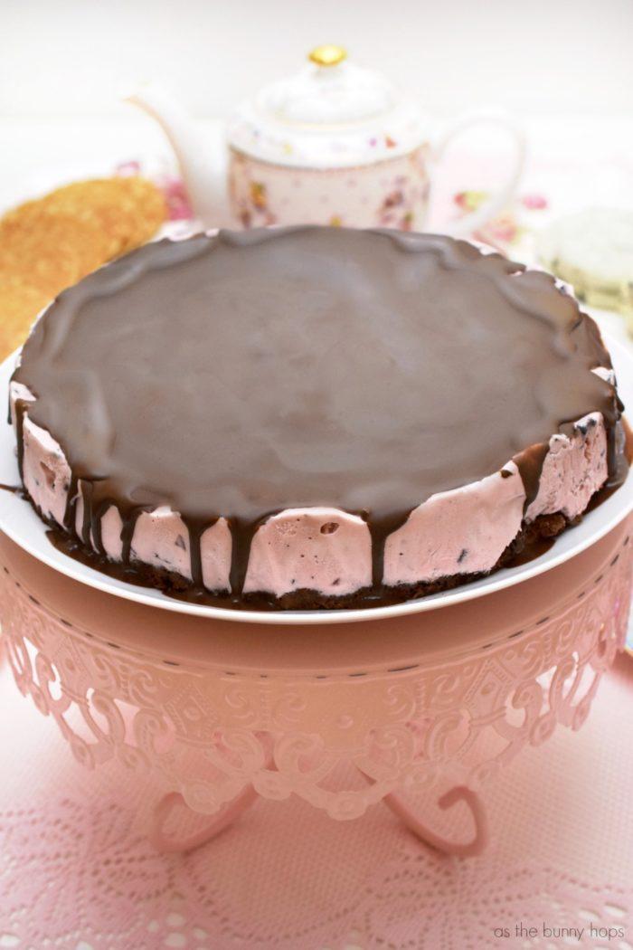 Chocolate Covered Cherry Ice Cream Cake