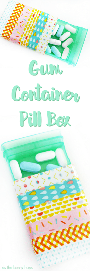 Create a cute little DIY pill box from an upcycled gum container and a little washi tape!