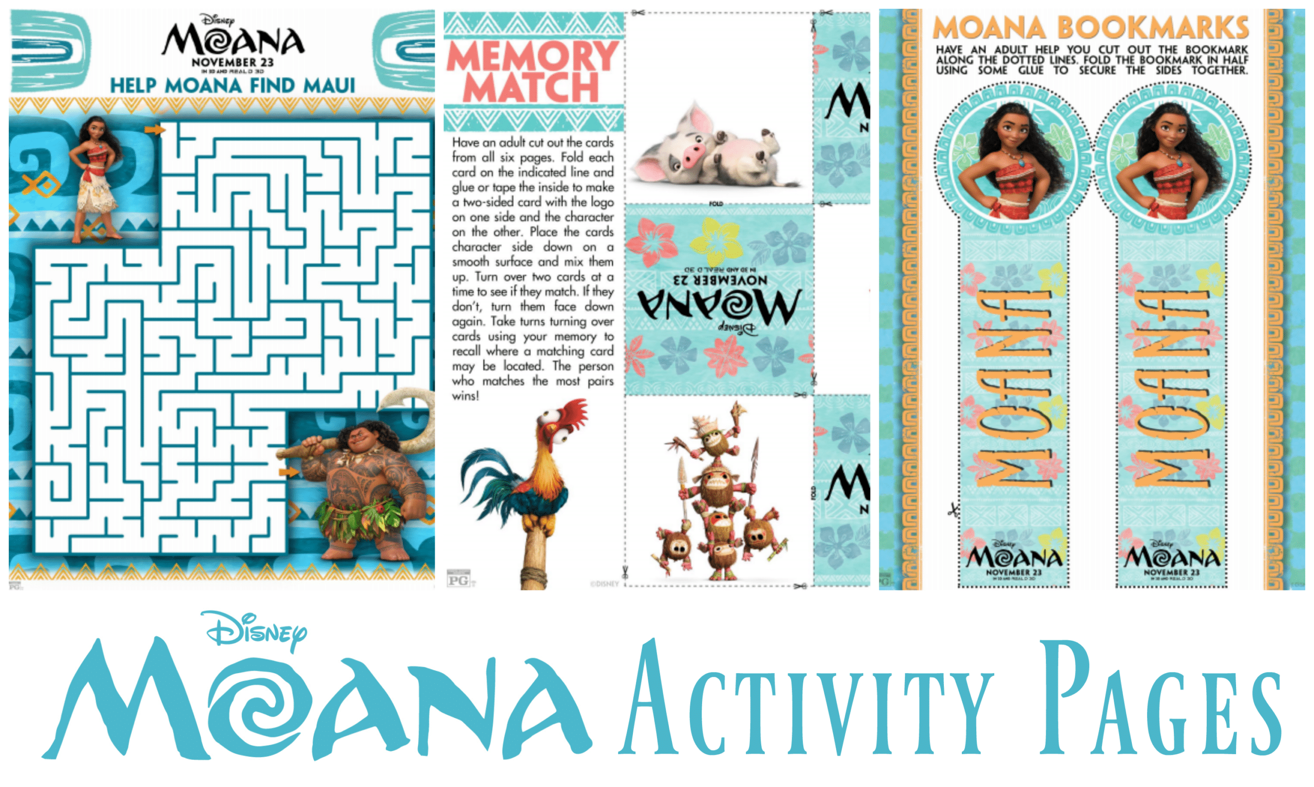 Moana Activity Pages As The Bunny