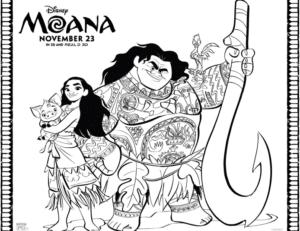 Moana, Maui, Pua and Hei Hei Coloring Page