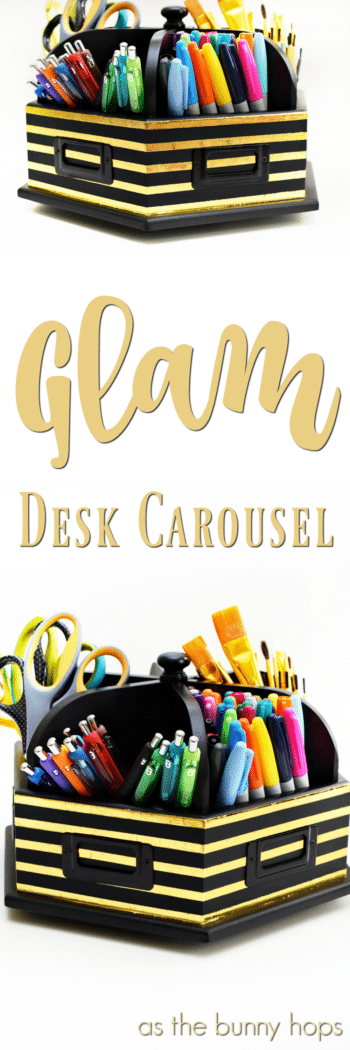 Give a basic desk carousel a glam makeover with gold transfer foil!