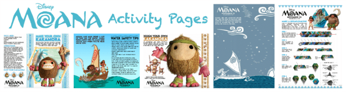 All New Moana Activity Pages