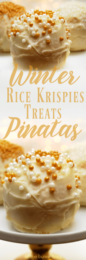 Get ready for the holidays with easy to make Rice Krispies Treats Piñatas! They're filled with sprinkles and fun!