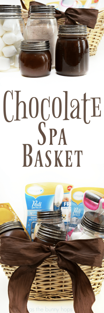 Create a DIY Spa Night at home with this Chocolate Spa Basket-with recipes for a chocolate sugar scrub and chocolate face mask!